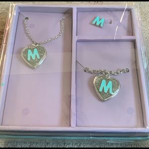 Justice Shaky Box Jewelry Set Locket Initial M